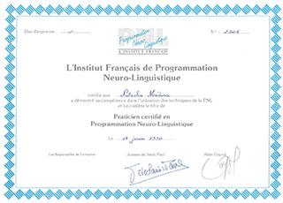 Diplôme Institut française de Programmation Neuro-Linguistique | Natacha MEDINA Lyon | Praticien certifié PNL