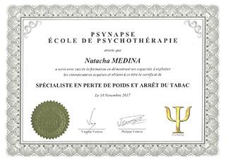 Diplôme PSYNAPSE École de Psychothérapie | Natacha MEDINA Lyon | Spécialiste en PERTE DE POIDS et ARRÊT DU TABAC