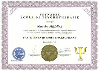 Diplôme PSYNAPSE École de Psychothérapie | Natacha MEDINA Lyon | Praticien diplômé en Hypnose Ericksonienne